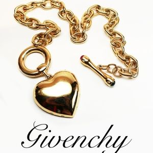 ⚜️RARE Vintage GIVENCHY Gold Heart RUNWAY Necklace